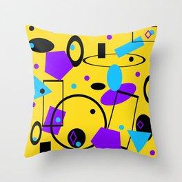 Retro abstract print yellow Throw Pillow