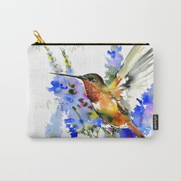 Alen's Hummingbird and Blue Flowers Carry-All Pouch