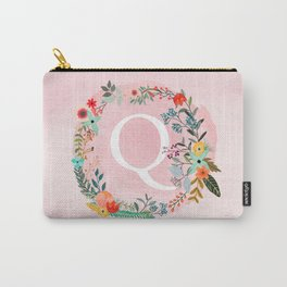 Flower Wreath with Personalized Monogram Initial Letter Q on Pink Watercolor Paper Texture Artwork Carry-All Pouch