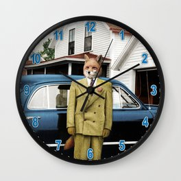 Mr. Fox posing with his new car Wall Clock