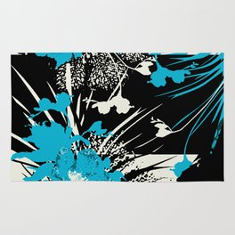 tropical flower silhouettes in sky blue Rug