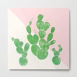 Linocut Cacti Family Metal Print