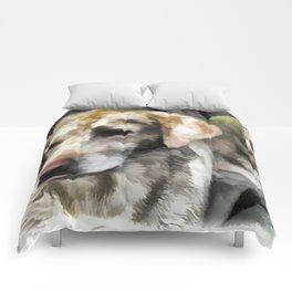 Labradors fun in the mud Comforters