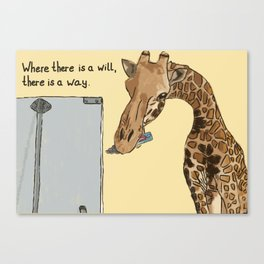 """Where there is a will, there is a way"": Giraffe painting a flipchart Canvas Print"