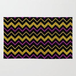 Black gold pink glitter chevron, minimalist, abstract pattern, glam, sparkle Rug