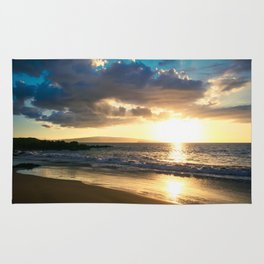 Poolenalena Beach Sunset Makena Maui Hawaii Rug