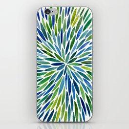 Watercolor Burst – Blue & Green iPhone Skin