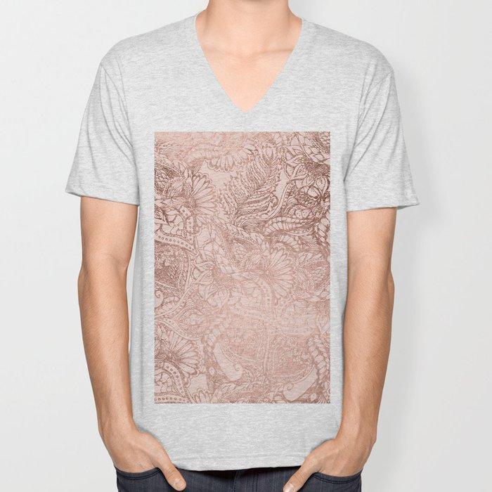 Modern rose gold floral illustration on blush pink Unisex V-Neck