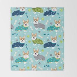 Corgi pajamas welsh corgi in pjs pattern print cute dog gifts custom dog portrait Throw Blanket