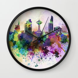 Khobar skyline in watercolor background Wall Clock