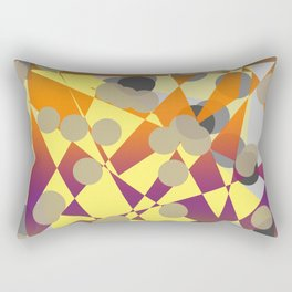 abstract geometrical art in blue yellow orange purple brown grey color Rectangular Pillow