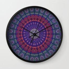 Blue Mandala Hippie Design Wall Clock