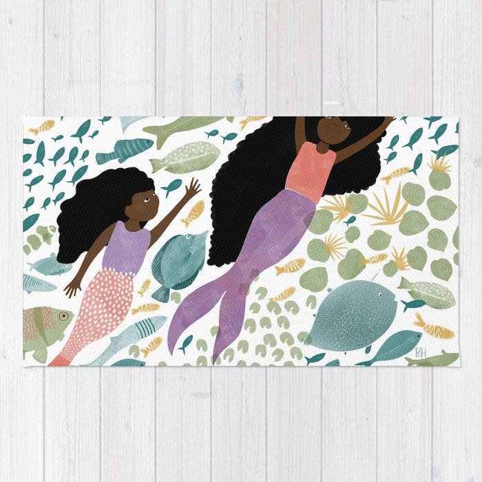 Mermaids and Fish in the Ocean Rug