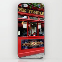 Red Temple Bar pub in Dublin iPhone Skin