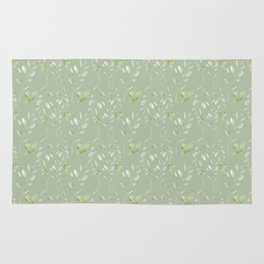 Mint green watercolor hand painted floral leaves Rug