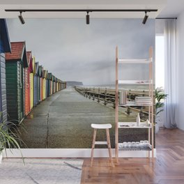 Whitby beach huts Wall Mural