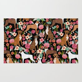 Boxer floral dog breed gifts for boxer lovers pet florals boxers must haves Rug