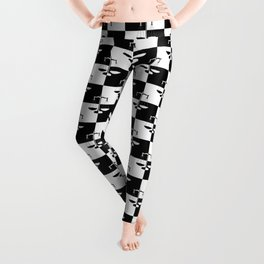 Black and White Checkerboard Scales of Justice Legal Pattern Leggings