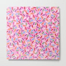 Pink Donut with Sprinkles Metal Print