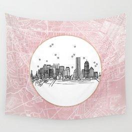 Boston, Massachusetts City Skyline Illustration Drawing Wall Tapestry