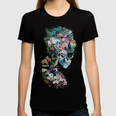 Floral Skull RP SMALL Black Womens Fitted Tee