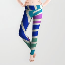 Color Lines Connections / Abstract Brushstrokes Pattern Leggings