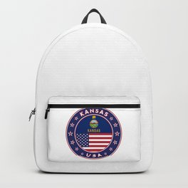 Kansas, Kansas t-shirt, Kansas sticker, circle, Kansas flag, white bg Backpack