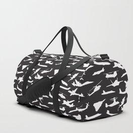 Aircraft Silhouettes, Black White Pattern Duffle Bag