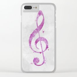 Watercolor Treble Clef in Pink Clear iPhone Case