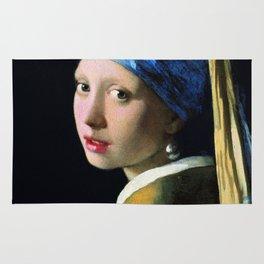 Jan Vermeer Girl With A Pearl Earring Baroque Art Rug