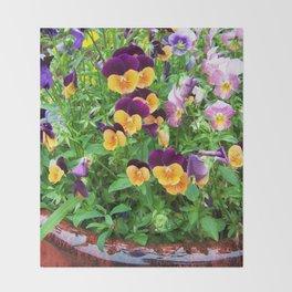Petunias in a Pot Throw Blanket