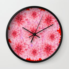 PINK DAHLIA FLOWERS IN RED COLOR ART Wall Clock