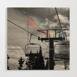4 Seat Chair Lift Rainbow Sky B&W Wood Wall Art