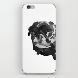 Pug Geometric art Black pugs Dog portrait Pet iPhone Skin