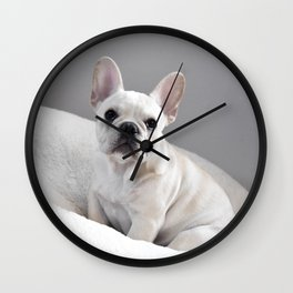 Cream Frenchie Wall Clock