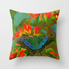 Extreme Emerald Swallowtail Butterfly Throw Pillow