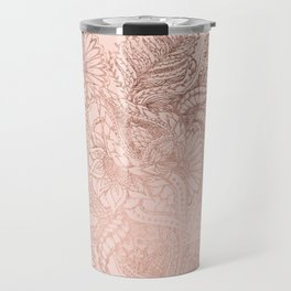 Modern rose gold floral illustration on blush pink Travel Mug