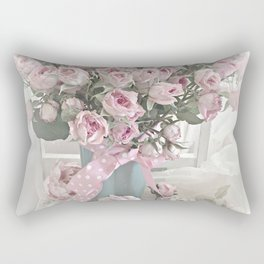 Pastel Roses In Vase - Shabby Chic Roses Pink Aqua Floral Print Home Decor Rectangular Pillow