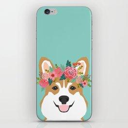 Corgi Portrait - dog with flower crown cute corgi dog art print iPhone Skin