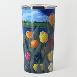 Dutch Tulips, Bright Colorful Flower Painting Travel Mug