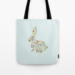Spring Flowers Bunny on Blue Tote Bag