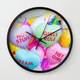 Conversation Heart Balloons Wall Clock