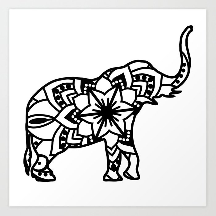 Elephant Mandala Art Print by mybloomingbook | Society6