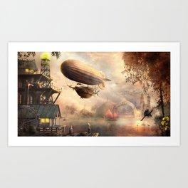steampunk sunset Art Print