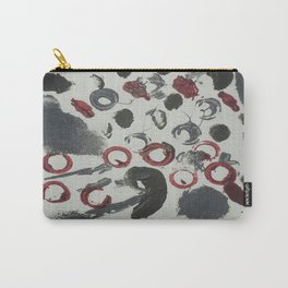 Moody Grey and Red Abstract Art Carry-All Pouch