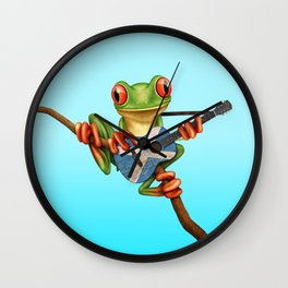 Tree Frog Playing Acoustic Guitar with Flag of Scotland Wall Clock