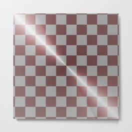 Rose gold and silver 8 by 8 chess board Metal Print