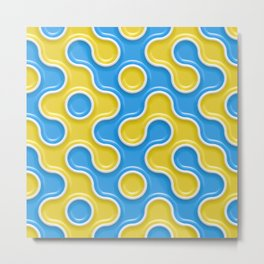 Yellow Blue Truchet Tilling Pattern Metal Print