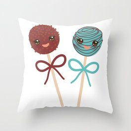 cute funny kawaii chocolate and blue Sweet Cake pops set with bow on white background Throw Pillow