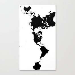 Dymaxion World Map (Fuller Projection Map) - Minimalist Black on White Canvas Print